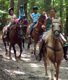 Guide Taking Camp Children Horseback Riding